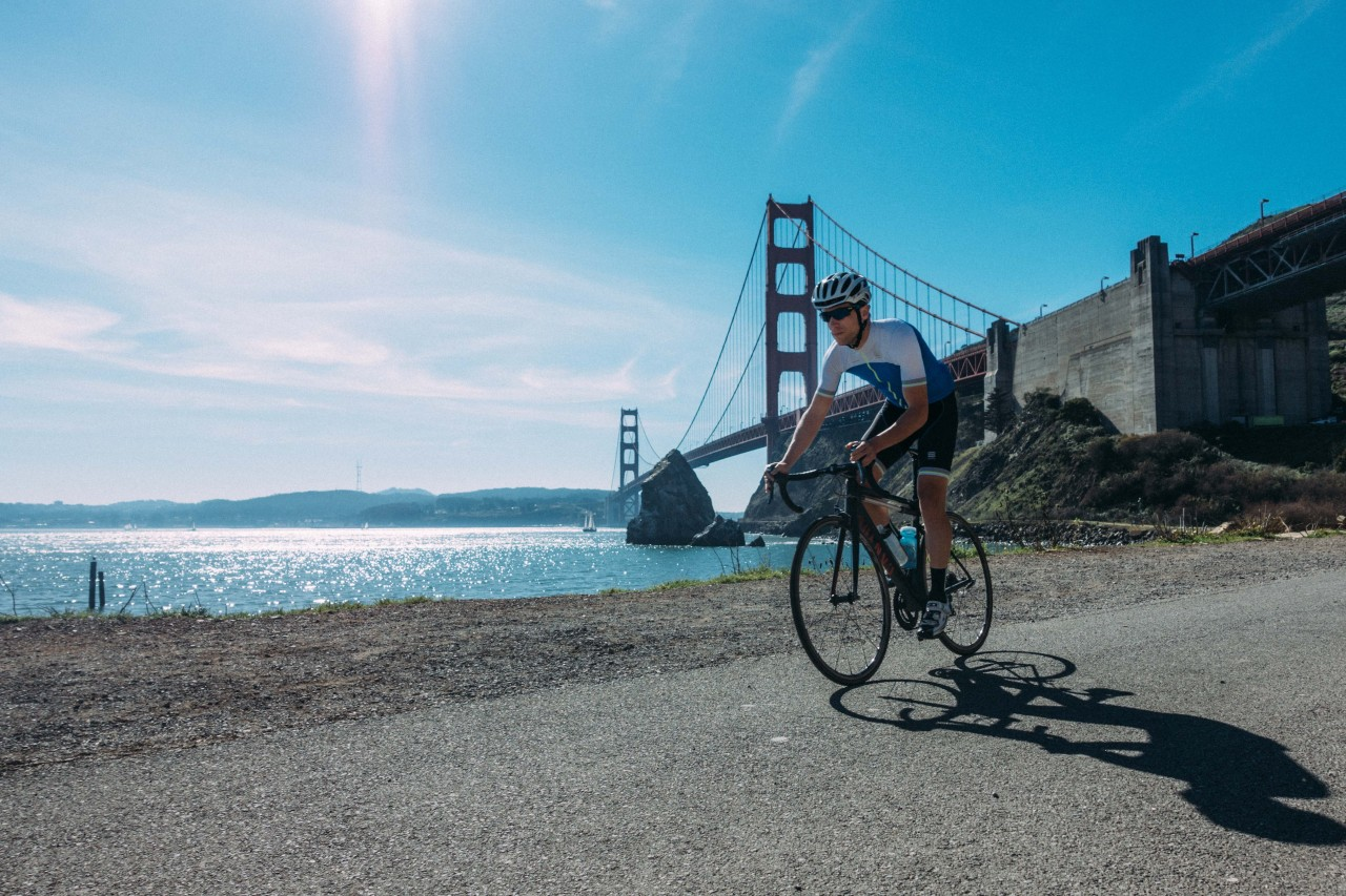 Riding past the Golden Gate
