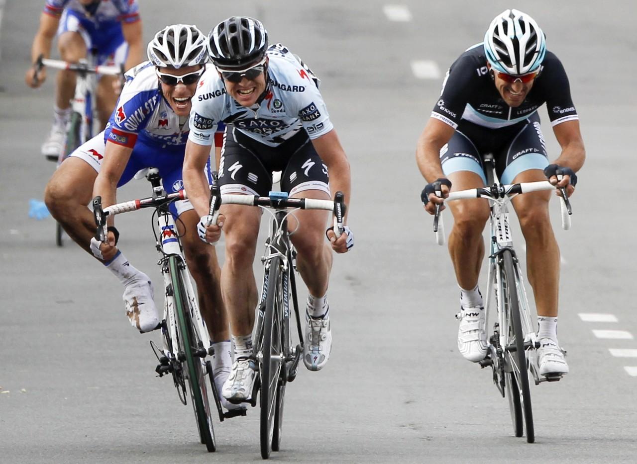 Nick Nuyens of Belgium sprints to win the ProTour Ronde van Vlaanderen/Tour of Flanders cycling race in Meerbeke
