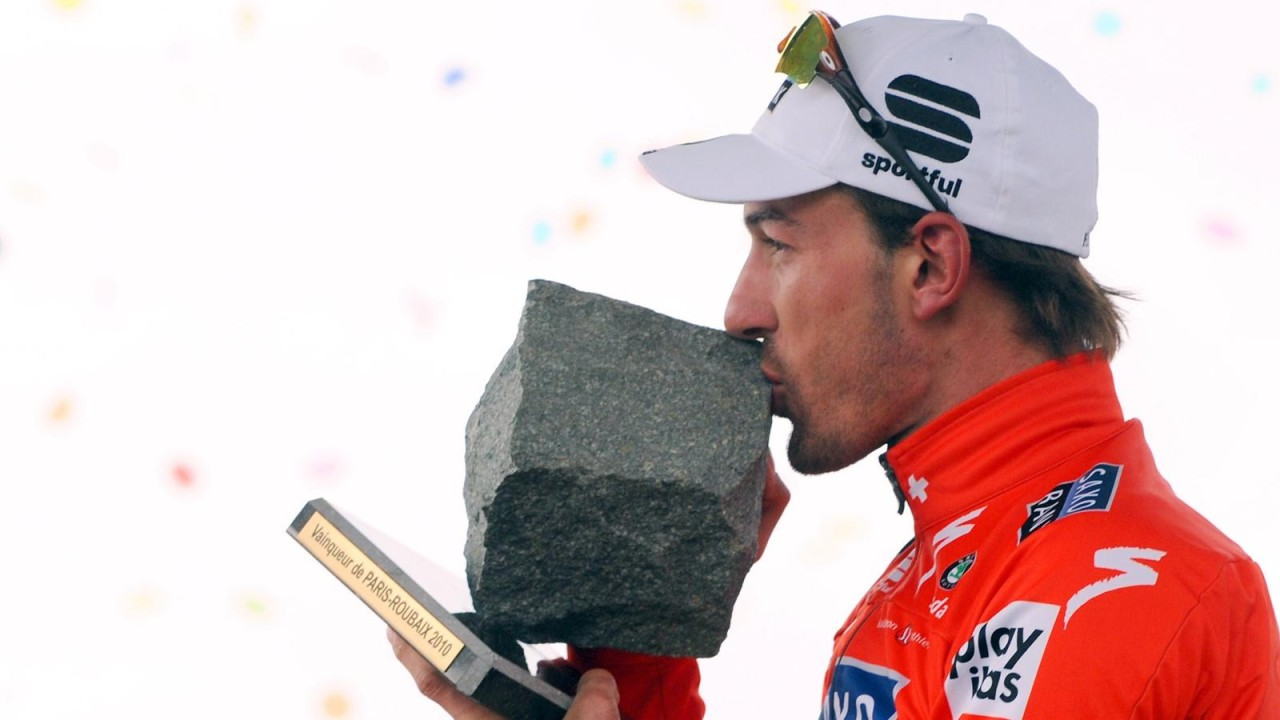 The coveted Pave of Roubaix trophy 2010