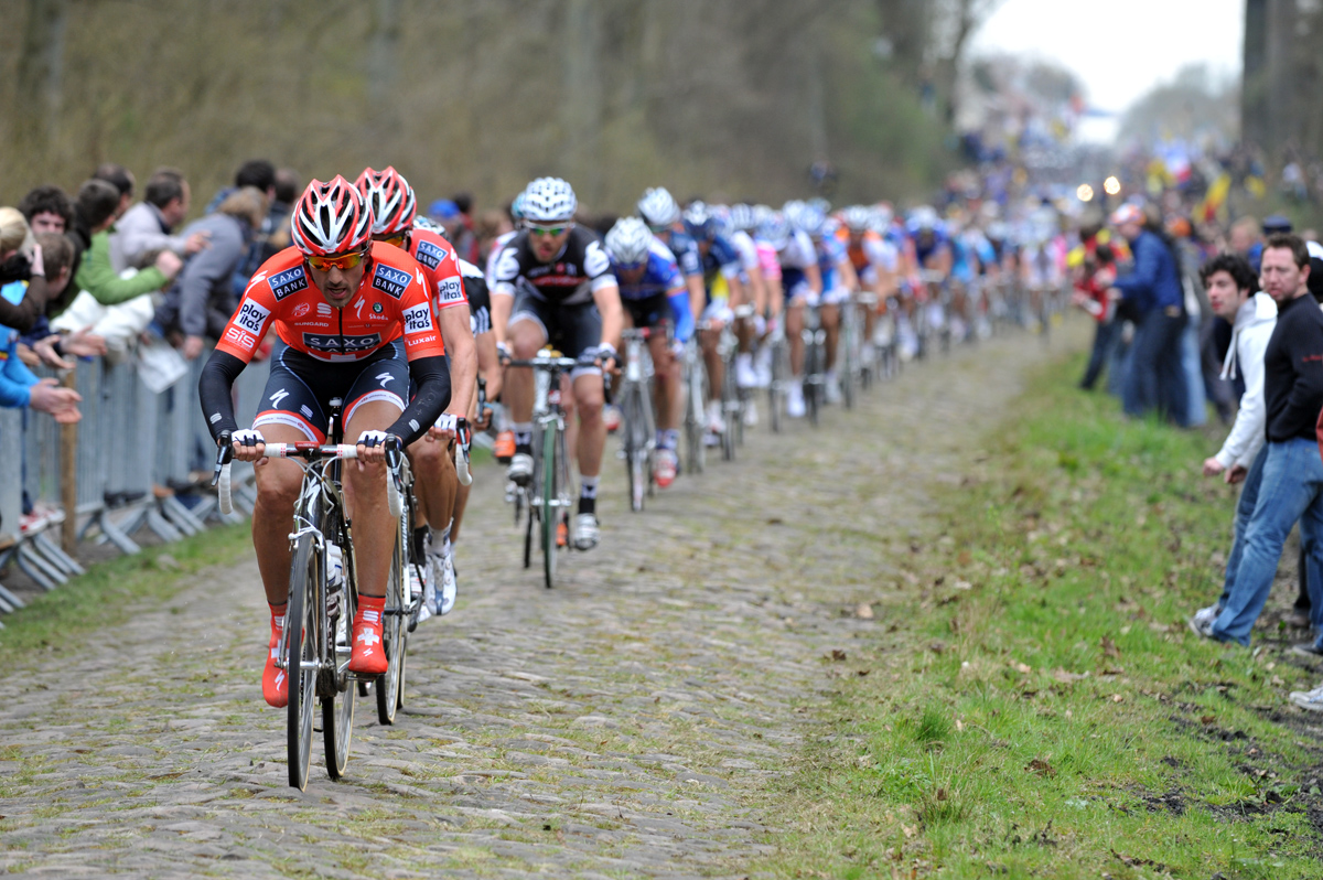 Cancellara leading through the Arenberg in 2010