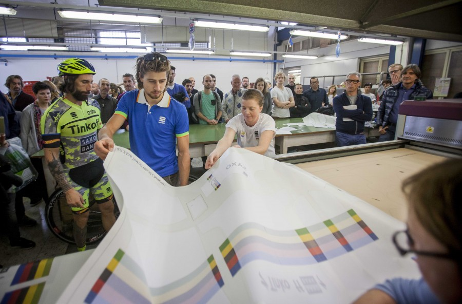 Sagan is shown how we print his World Champion Jersey