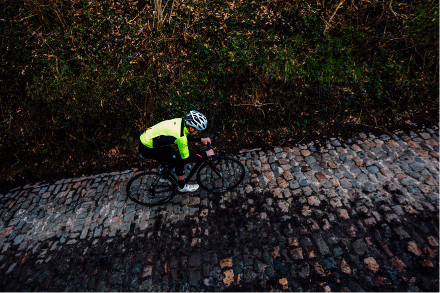 Clean lines on the Koppenberg – normally I'd abide to European road laws BUT….