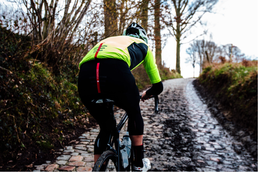 "The Koppenberg is no joke! Even with ""box fresh legs"" negotiating the slippery cobbles is never easy!"