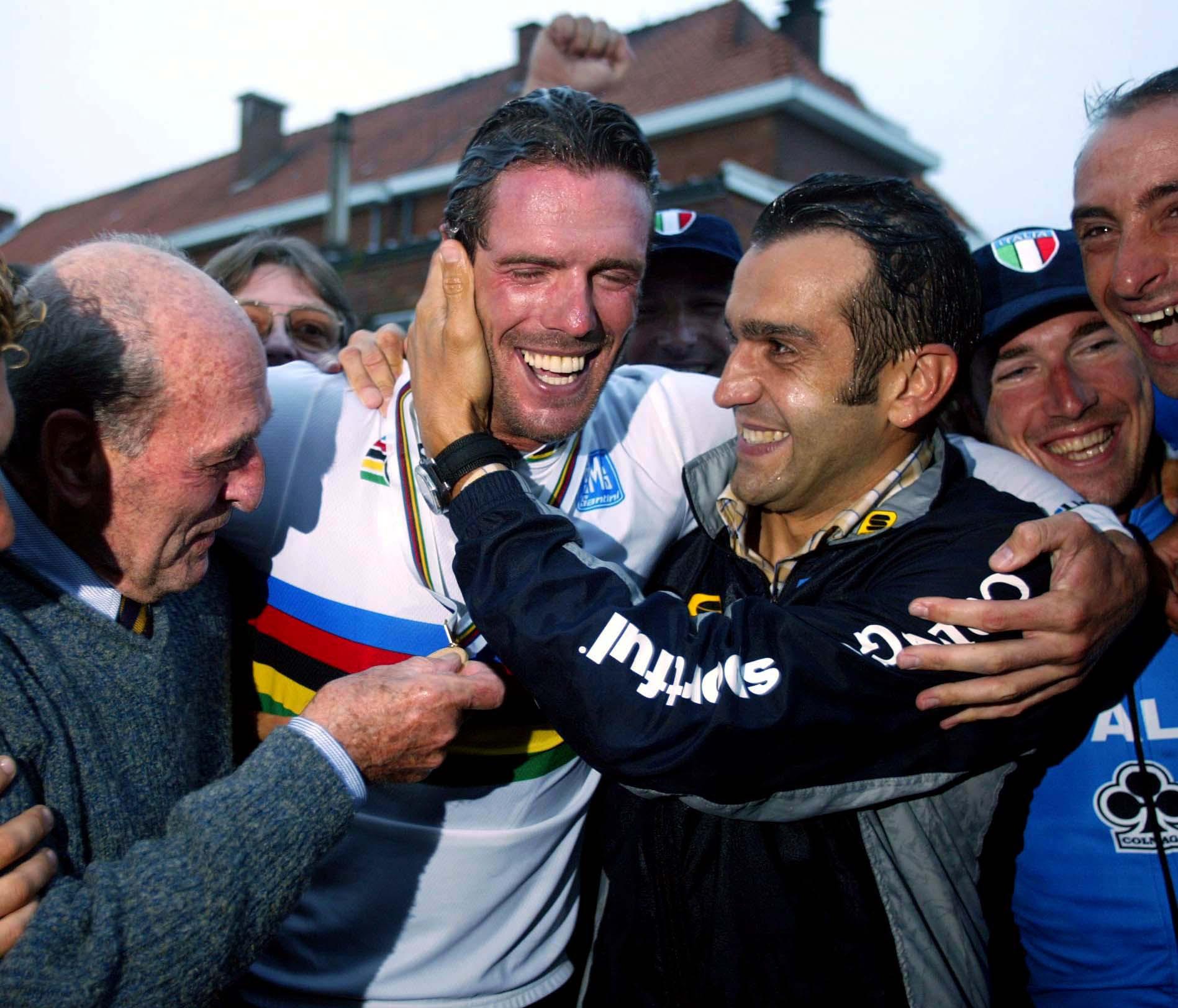 Franco Ballerini celebrates with Mario Cipollini