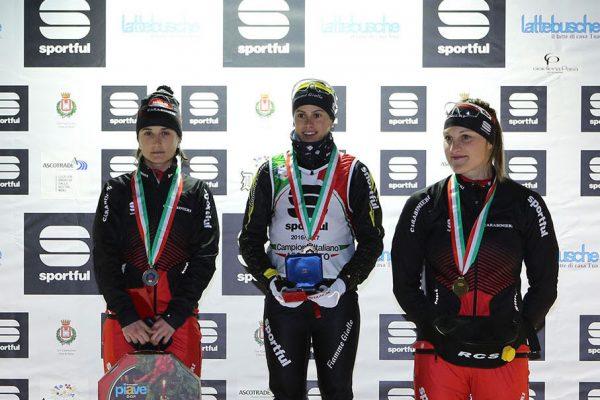 Podio femminile - Campionati Italiani Assoluti Sprint Pra' del Moro